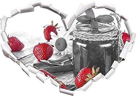 fraises fruitées en face de noir en forme de coeur de pot de confiture / blanc dans le regard 3D, mur ou un autocollant de porte Format: 92x64.5cm, Stickers muraux, Stickers muraux, Wanddekoratio