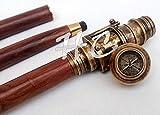 Antik Holz Gehstock faltbar Stick mit verstecktem Spy Messing Teleskop & Kompass am Griff Nautisches