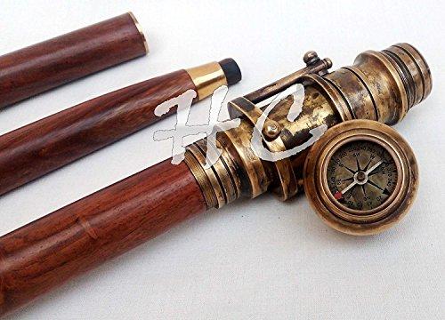 Antik Holz Gehstock faltbar Stick mit verstecktem Spy Messing Teleskop & Kompass am Griff Nautisches -