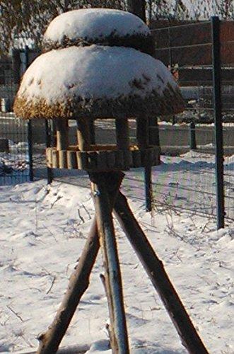 Vogelhaus Sylt mit Reetdach (rund 74 cm Durchmesser (mit Ständer)) - 7