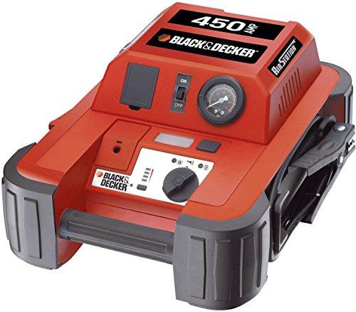 Black+Decker BD 0190104 450 AMP Avviatore di Emergenza. Compressore d'Aria 120 PSI/ 8,27 Bar, Nero, Ah