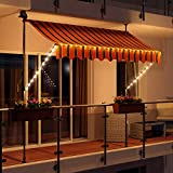Swing & Harmonie LED - Markise mit Kurbel Klemmmarkise Balkonmarkise mit Beleuchtung und Solarmodul Fallarm Markise Sonnenschutz Terrasse Balkon (300x150, orange/schwarz)