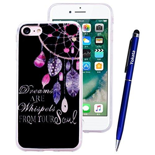 Yokata Coque iPhone 8 (4.8 inch) Étui Motif Etui iPhone 8 Silicone Souple Ultra Fine Mince Housse Doux Soft Gel Case Bumper en Transparente Slim Cover Anti Choc Housse de Protection 1* Stylet Pen - Ne Attrape reves