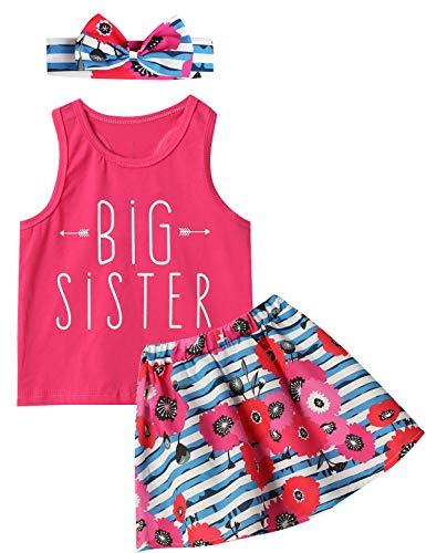 Baumwolle Kleinkind Kleidung (Catpapa Baby Mädchen lustige passende Kleidung Blumenmuster gestreift Outfits Set Gr. 2 Jahre, Rose)