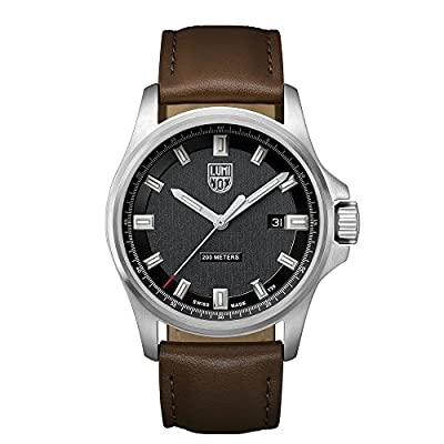 Luminox Dress Field Men's Quartz watch with Black dial featuring LLT Luminox light Technology 42 millimeters Stainless Steel case and Brown Leather Strap  XL.1831