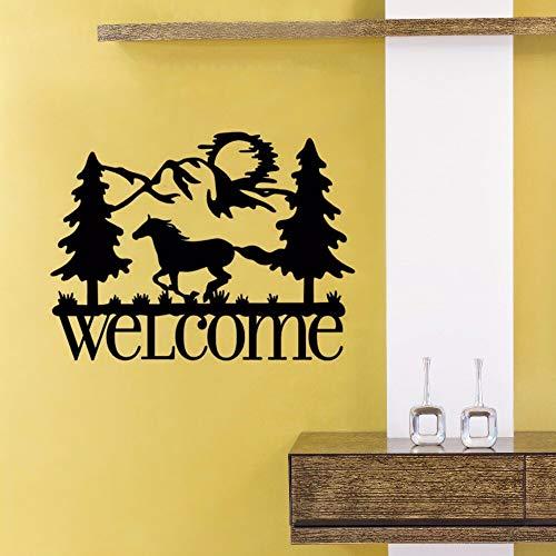 Ajcwhml Running Horse Willkommen Wandaufkleber Haustür Aufkleber Vinyl Pferd Wand Poster Abnehmbare Willkommensschild Wand Fenster Wandbilder 57X43 Cm (Roller-stick Running)