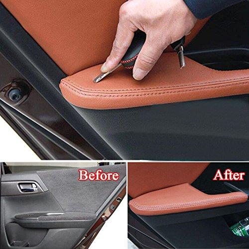 Duspper - Auto-Tür-Armlehnen-Panel-Abdeckungs-Ordnung PU-Leder Anti-Kollisions-Schutz-Car Protect-Abdeckungen für Honda Accord 9. 2014 2015 Car Styling [Brown] (Honda Accord 2015 Leder)