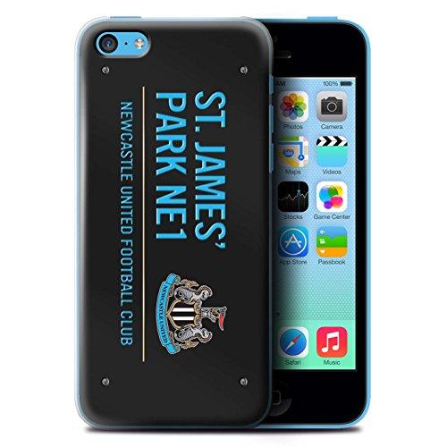 Offiziell Newcastle United FC Hülle / Case für Apple iPhone 5C / Schwarz/Weiß Muster / St James Park Zeichen Kollektion Schwarz/Blau