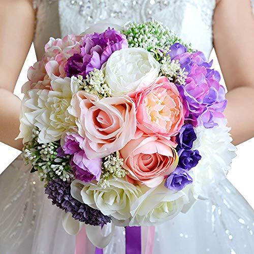 Bouquet Braut Brautjungfer Künstliche Blume Hochzeit Handgemachte Pflanze Blatt Rebe Satinband Für Strand Hochzeit Dekor Hmucy - Hochzeit Strand Bouquet
