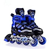Hi-Widze Inline Extrawish Skates Size Adjustable All Pure PU Wheels of Aluminum-Alloy With Led Flash Light On Wheels (Blue)