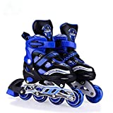 #5: Inline Extrawish Skates size adjustable all pure PU wheels it has aluminum-alloy which is strong with LED flash light on wheels (Blue)