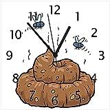 Wallario Glas-Uhr Echtglas Wanduhr Motivuhr • in Premium-Qualität • Größe: 30x30cm • Motiv: Comic Scheißhaufen mit Fliegen