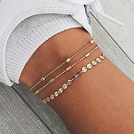 Jovono Boho Multi Layered Anklet Beads Paillettes Cavigliera Bracciali Moda Beach Piedi Gioielli per donne e ragazze (Oro)