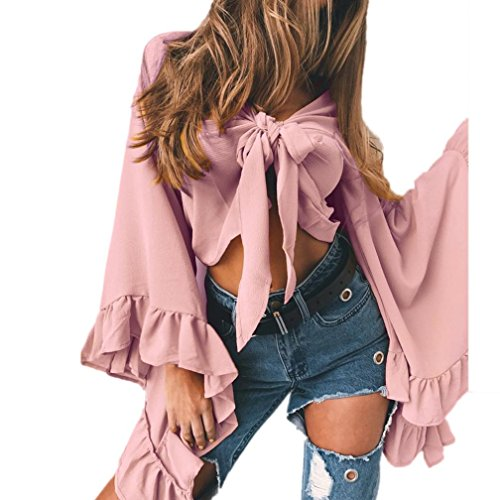 Amlaiworld sommer mode strand Langarmshirts damen V-Ausschnitt band tops elegant Mädchen locker Ärmel Oberteile kurz bauchfrei bluse (M, Rosa)