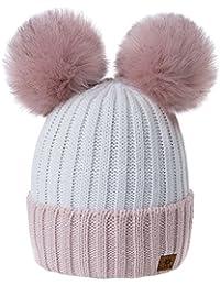 MFAZ Morefaz Ltd Mujer Gorro de Invierno Beanie Sombrero De Invierno Doble  Pompón Esquí de Moda ff1627db696