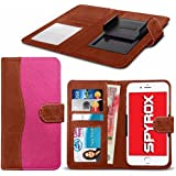 Spyrox - Samsung Galaxy A3 2017 (4.7 inch) Hochwertige Stoff Material Klemme Wallet Case in Brown and Hot Pink