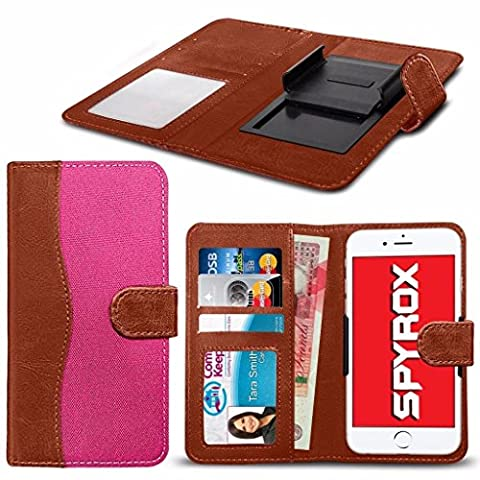 Spyrox - Siswoo R8 Monster (5.5 inch) Matériel de haute qualité tissu Clamp Wallet Case in Brown and Hot Pink