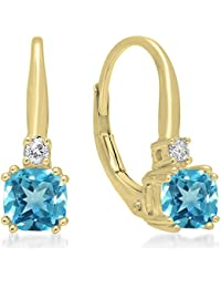 14 ct Yellow Gold Cushion Cut Blue Topaz & Round Cut White Diamond Ladies Dangling Drop Earrings