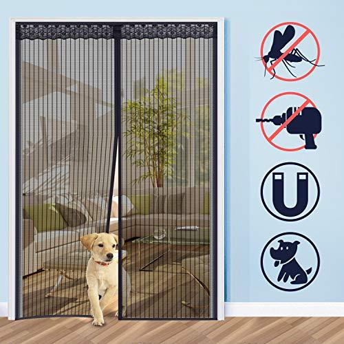 Homein Fliegengitter Balkontür Magnet Fliegenvorhang für Tür 160x230 cm, Fliegengittertür Terrassentür Insektenschutz Magnetvorhang Moskitonetz Magnetischer Vorhang Ohne Bohren mit Magnetverschluss
