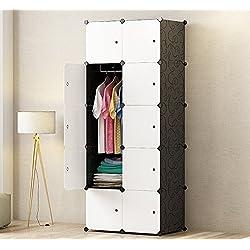 PREMAG Armoire Portable DIY, Penderie avec Portes, Tige Suspendue, Construction Solide pour Vêtements, Chaussures, Accessoires, Noir et Blanc 10 Cubes
