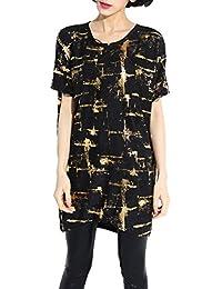 ELLAZHU Femme Casual Shirt Robe Transparent En Détresse Imprimé Taille Unique SZ148