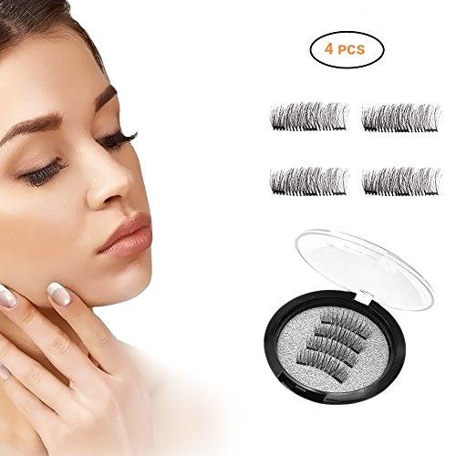 Magnetische falsche Wimpern EisEyen wiederverwendbare Gefälschte Voluminöse Wimpern Künstliche Wimpern mit 3 Magnete 3D Dicke und Verlängeren (4 pcs)