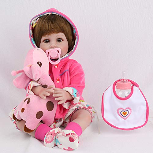 Reborn Baby-Puppe 22 Zoll Girl Handmade Real Wie Baby Huggable Soft Toy Gift Hoketian Xmas Gift Hoketian (Real Puppe Girl)