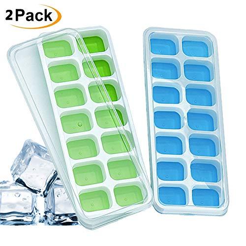IHUIXINHE Eiswürfelform, 14-Fach Eiswürfel, 2er Pack 100% BPA Frei Ice Tray Ice Cube mit Deckel, Eiswürfelbox