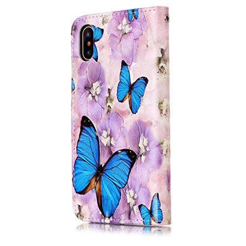 Inshang Iphone 5 5,8 Pouces Cas Avec Portefeuille Intégré, Housse De Protection Pour Iphone 5,8 Pouces Avec Fonction De Soutien. Papillon Bleu