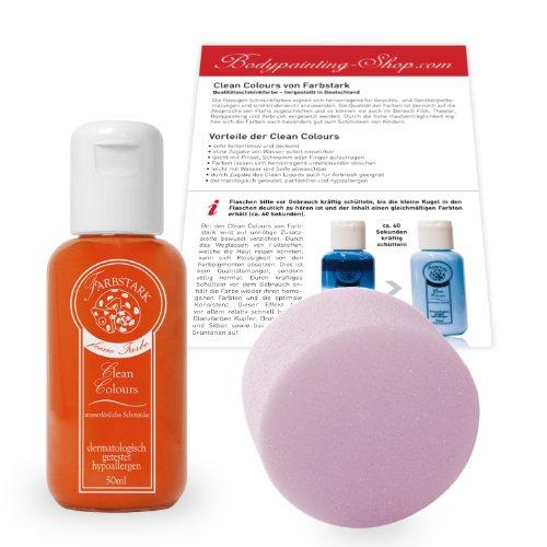 Farbstark Bodypainting Farben - hautfreundliche Körperfarbe in Profi Qualität (auch für Airbrush geeignet), Set: 50 ml Farbe Orange + Schminkschwamm