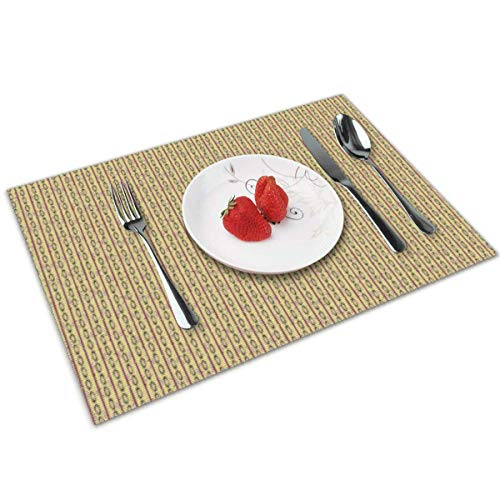 Aeykis Placemats Set of 4,Ethnic Stripe Heat-Resistant Placemats Washable Table Mats for Kitchen Dining Table 49ers-pet-set