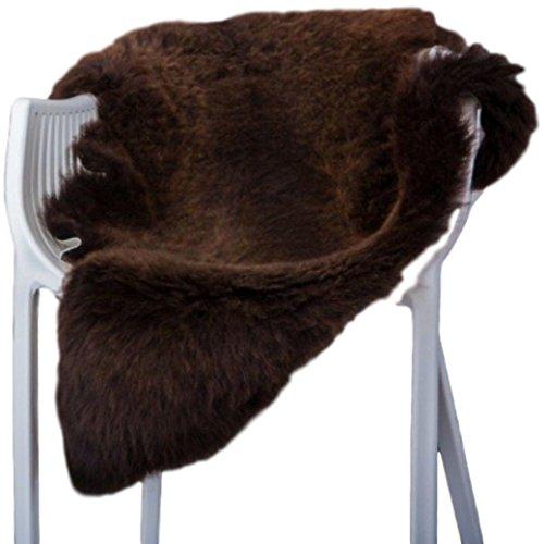 Preisvergleich Produktbild Lammfell Schaffell echt grau NATUR optik Läufer Sitzauflage Abdeckung Warmer schaffell xxl (Braun, 120-130 cm)