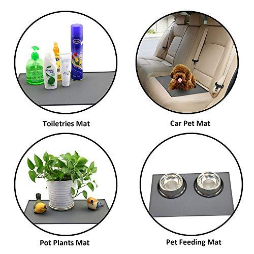 color blu; niente pi/ù cibo o acqua sul pavimento Tappetino sottociotola per cani e gatti in silicone alimentare antiscivolo con bordo rialzato rettangolare Mlife