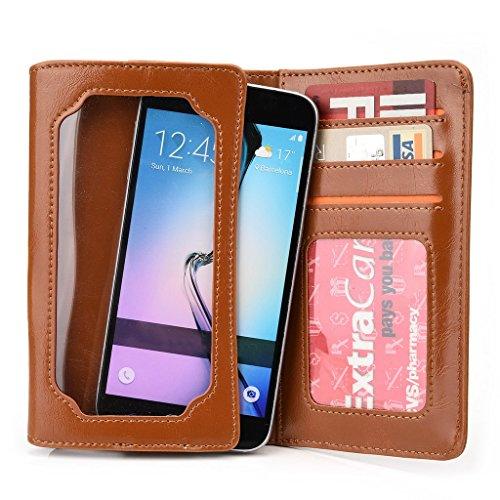 Kroo Portefeuille unisexe avec Samsung Galaxy Core Plus/S4Mini/Express universel compatible avec différentes couleurs disponibles avec affichage écran Marron - marron Marron - marron