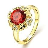 Gnzoe Schmuck 18K Vergoldet Damen Ringe Design Blumen mit Rot Kristall Gold Gr.57 (18.1)