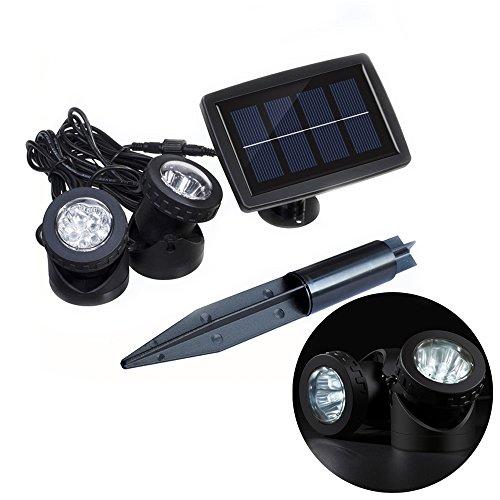 GAXmi Solar Teich Pool Lichter Draußen LED Unterwasser Scheinwerfer / Wandbeleuchtung mit Blitz Modus für Garten Rasen Bush Baum Brunnen Rockery (Doppel Lampen) (Weiß)