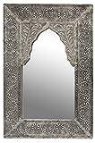 Orient Spiegel Wandspiegel Malik 42cm groß Silber | Großer Marokkanischer Flurspiegel mit Holzrahmen orientalisch verziert | Orientalischer Vintage Badspiegel ohne Beleuchtung als Orientalische Deko
