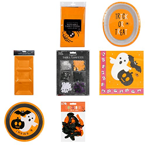Halloween Geschirr Party Supplies Set | Entsorgung Kit für 16 Gäste inkl. Halloween Tischdecke | Pappteller | Papier Servietten | Papier Platten | Serviertablett | Konfetti | Luftballons (Party Geschirr Halloween)