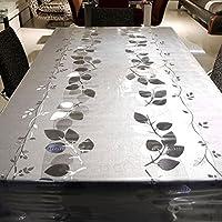Housse de table, LIVEBOX en vinyle lourd pour Housse de table rectangulaire en PVC facile à nettoyer Nappe antitache aux Huiles/étanche/anti-moisissures–137,2x 198,1cm (Feuilles de cristal)