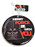 Merry Force Be With You Weihnachten Ornament – Hängende Dekoration Baum/Keramik/Film Saga/Dark Side/Runde Form/Funny modernes Zubehör/schwarz weiß rot/NEUHEIT/Strumpffüller