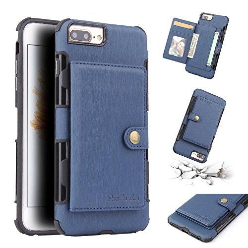 FLY HAWK iPhone 6/6s, iPhone 7/8, iPhone X/XR/XS Max, iPhone 6/7/8 Plus Hülle Handy Wallet mit Kartenfächer Lederhülle Wallet Case Schutzhülle Taschen [Premium PU] [Geldbörse]in vielen Farben - 6 Plus Zubehör