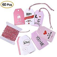 Idea Regalo - KUUQA 60 Pezzi Tag Regalo di San Valentino Tag di Carta di San Valentino con String per le Decorazioni della Festa Nuziale di San Valentino