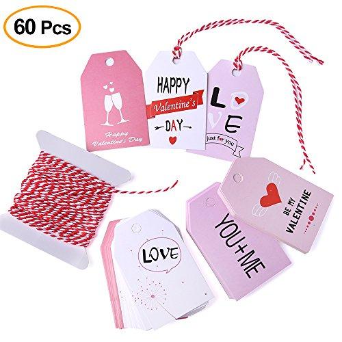 Kuuqa 60 pezzi tag regalo di san valentino tag di carta di san valentino con string per le decorazioni della festa nuziale di san valentino