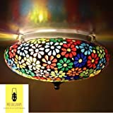 #10: Handcrafted Multicolor Flower Design Mosaic Ceiling Lamp for Balcony, Living Room, Bed Room, Dining Room, Office