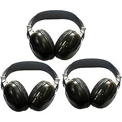 Paquet de 3 deux tšŠlšŠphones Ensembles Canal pliant Universal Head Joueur systššme de divertissement arriššre du casque sans fil infrarouge IR DVD dans la voiture TV Video Audio ?coute casques