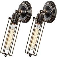 Apliques de Pared Vintage Ajustable Metal Lampara Rustica Retro Lámpara Industrial de Pared E27 para la Salon, Cocina, Desván, Restaurante, Cafe, Club Decoración (2 PAQUETES)