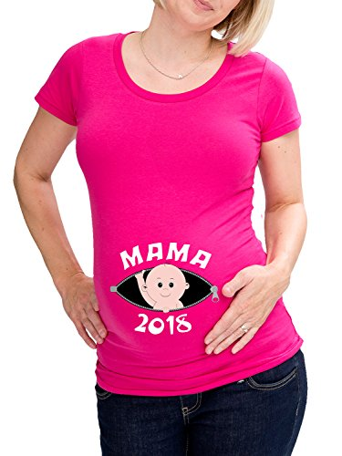 LOVE RULES Damen witzige Umstandsmode T-Shirt Mama 2018 Baby guckt raus pink L-38