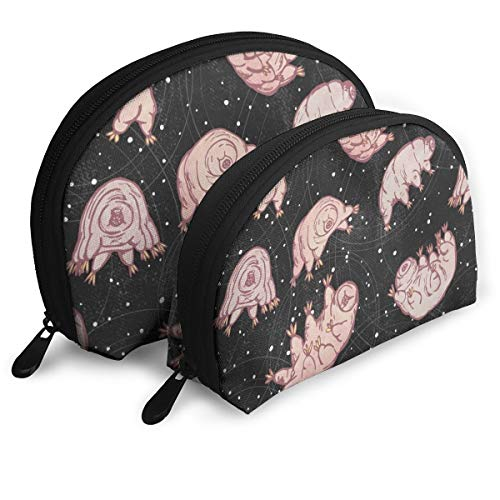 Tardigrades In Space Black 2pcs/pack Toiletry bag Travel Carry On Airport Travel Shell Makeup Storage Bag Toiletry Organizer For Women