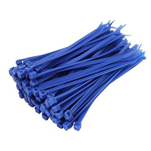Daorier Lot de 100 Serre-Câbles de Nylon Attache-Câble Colliers de Serrage Plastique Autobloquant 3×150 mm (Bleu)