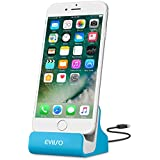 iPhone Dockingstation,EVIISO 8 Pin Ladestation Lightning Dock Lade und Sync Universal Ständer Desktop Docking Station für Smartphone und Handy mit USB-Kabel für iPhone 7 7 Plus 6 6s 6 Plus se 5 5s 5c(Blau)